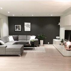 Salon contemporain gris anthracite bois