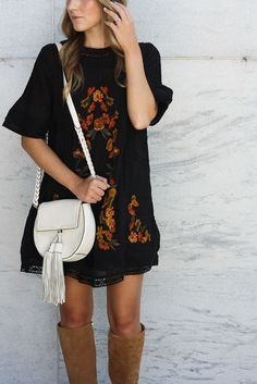 Embroidered Mini | Free People Victorian Dress | Fall Outfit Idea | Tall Suede Boots | Twenties Girl Style