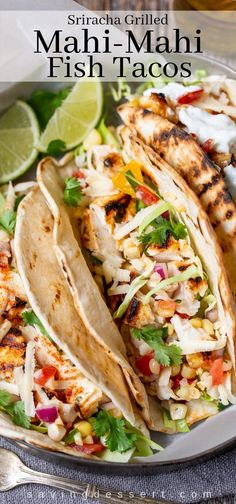 Sriracha Grilled Mahi Mahi Fish Tacos with Sweet Corn Salsa - spicy, flaky, mild Mahi Mahi piled on grilled tortillas with cabbage, cheese, and sour cream! Mahi Mahi Fish Tacos, Grilled Mahi Mahi, Grilled Fish Tacos, Grilled Salmon, Grilling Recipes, Seafood Recipes, Mexican Food Recipes, Cooking Recipes, Healthy Recipes