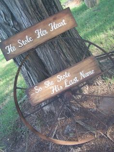 Stained Rustic Wooden Wedding Signs By ...