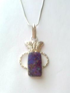 Purple Jasper/Silver Butterfly Charm  Necklace - $15