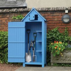 The Kingfisher Blue Wooden Garden Tool Shed is the perfect storage solution for smaller gardens or balconies. The shed is divided in half, one side for. Small Garden Tool Shed, Garden Sheds For Sale, Garden Tools, Garden Projects, Backyard Storage Sheds, Garden Storage Shed, Diy Shed, Blue Shed, Shed Base