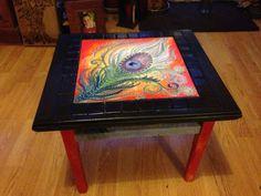 Upcycled bespoke boho style side table by DooLallyAlleyArt on Etsy