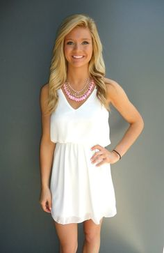 White Double Strap Dress- $45 Necklace- $25  https://www.facebook.com/photo.php?fbid=493583600709702=a.493582227376506.1073741848.147603131974419=3