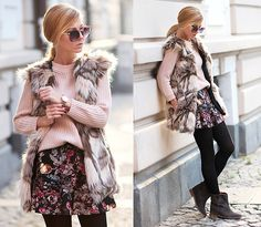 Choies Faux Fur Waistcoat, Pull And Bear Skirt, Choies Ankle Boots, Zara Sweater, Choies Sunglasses With Metal Arrow In Floral, Parfois Watch