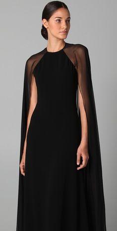 Reem Acra Halter Gown with Chiffon Cape ♥ jαɢlαdy