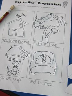 """Hop on Pop"" preposition worksheet."