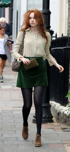 fashion, street style, green skirt, blouse, red hair, ginger, long hair, style, boots