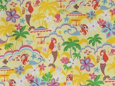 CAC0014- 100% Cotton Fabric: All-Over Hawaiian Print Fabric
