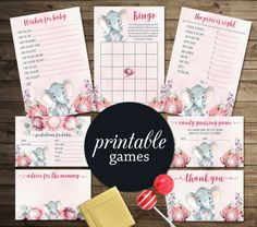 Girl Baby Shower Games Printable, Elephant Baby Shower Games, Pink Elephant Baby Games Pack, Printable Baby Shower Games Girl, digital file. tranquillina.etsy.com