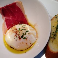 65 degree egg with Jamon Iberico, Pedro Ximenez Vinegar, Olive Oil and Pimente de Espelette
