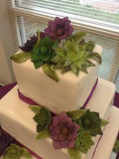 succulent fondant flower wedding cake Fondant Flower Cake, Wedding Cakes With Flowers, Awesome Cakes, Sweet Cakes, Healthy Eats, Helpful Hints, Cake Decorating, Succulents, Tools