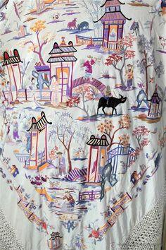 Antiguo mantón de chinos. Costumbrista. Manila. Canton shawl