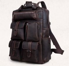 Vintage Crazy Horse Leather Men Backpack Travel Backpack Genuine Leather Backpack Men School Backpack Fashion Rucksack Book Bag