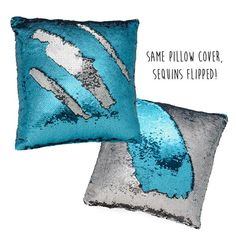 Mermaid Pillow Color-Changing Sequin Pillow in Silver & Blue