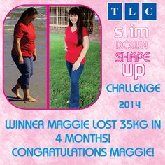 Winner of the TLC-Slim Down Shape Up Challenge.  Maggie lost 35kg in 4 months!  http://tlcforwellbeing.com/maggie-a-120.html