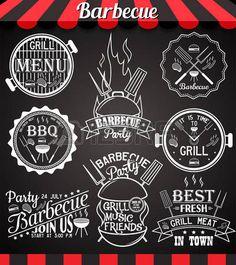 logo restaurant: Collection barbecue blanc du parti d'icônes, des étiquettes, des symboles et des éléments de conception sur tableau noir