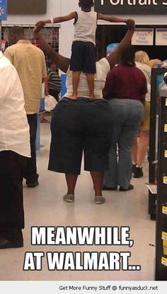 fat woman kid standing on butt ass walmart funny pics pictures pic picture image photo images photos