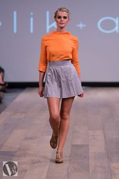 A splash of orange with a classic high waisted skirt with pleating for extra detail. Fashion Editor, Vancouver, High Waisted Skirt, Photo Galleries, Mini Skirts, Orange, Detail, Classic, Collection