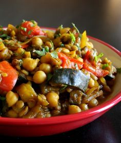 Moroccan Eggplant With Garbanzo Beans - for lenten friday,  smell great,  made as soup looser