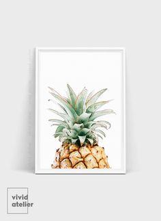 Pineapple Print Pineapple Wall Art Watercolor door VividAtelier