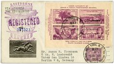 Hindenburg first North America flight cover from 1936. This registered envelope, posted at the TIPEX stamp show in New York, was flown by Hindenburg to Germany.