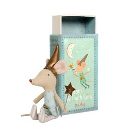 Tooth Fairy Boy Mouse in Box- old style- one left-At night the tooth fairy spreads fairy dust, collects baby teeth, brings treats, and always makes sure you have sweet dreams. Dressed magically in his blue starred outfit, the tooth fairy boy mouse co Cute Tooth, Matchbox Art, Matchbox Crafts, Messy Room, Fairy Dust, Tooth Fairy, Softies, Kids Toys, Boy Or Girl