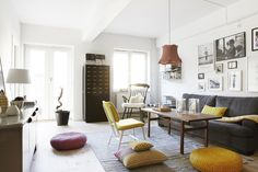 Gorgeous mustard accents and I love the light in this room via Fantastic Frank