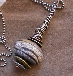 Necklace |  Desert Tailsman Designs.  Earthy Handmade Glass Bead Pendant with Sterling Wire Wrap on Sterling Bead Chain