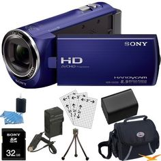 Sony HDR-CX220/L HDRCX220L CX220 HDR-CX220 L High Definition Handycam Camcorder with 2.7-Inch LCD (Silver)Ultimate Bundle with 32GB SD Card, High Capacity Spare Battery, Rapid AC/DC Charger, Deluxe Carrying Case, Table Tripod, LCD Screen Protectors + More