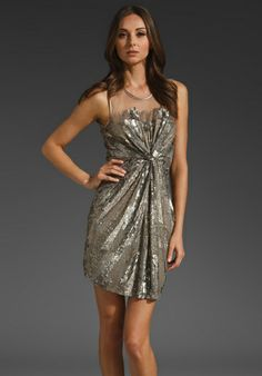 want something similar: PARKER Knot Front Beaded Dress in Silver (outofstock)