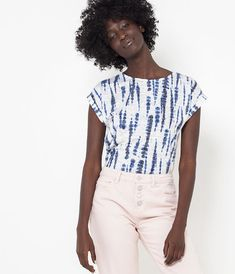 T-shirt imprimé femme - indigo Femmes Camaïeu