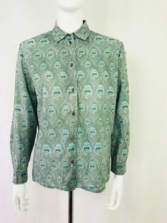 6ebfde742e2 David Nieper Green Peacock Feather Shirt 100% Cotton UK Size 12 #fashion  #clothing