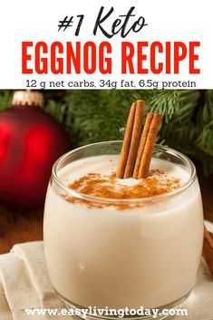 This delicious low carb keto eggnog recipe is super easy and perfect for any holiday party! You can make it either alcoholic or non-alcoholic and it will still be under 12g net carbs. Enjoy! #keto #ketogenicdiet #ketodiet #ketorecipes #ketoholidays via @easylivingtoday
