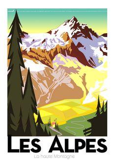"""Il·lustració de Richard Zielenkiewicz: """"Les Alpes françaises"""""""