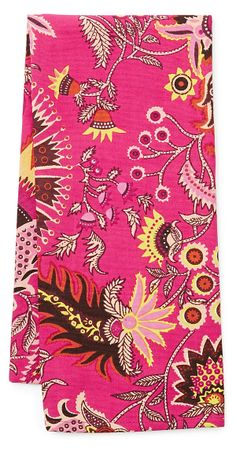 One Kings Lane - The Caravan Collection - S/3 Fuchsia Floral Tea Towels