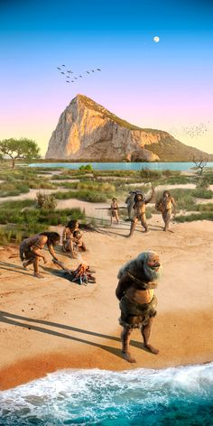 Some of the last Neanderthals at the Rock of Gibraltar on the southwestern tip of the Iberian Peninsula by Rodolfo Nogueira