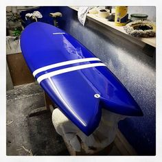 Retro Fish with a metallic blue resin tint white resin bands hand made glassed on fins and a polished gloss finish. For sale  #visionary #retrofish #surfboard #surfboards #resintint #resinart #shiny http://ift.tt/19MEsb6 http://ift.tt/1v0LElc