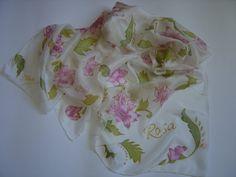RISERVATO Sciarpa di seta dipinta a mano fiori per di AdeleDaniele