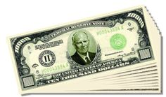 Eisenhower $10,000 Dollar Novelty Bill - 25 Count with Bonus Clear Protector and Christopher Columbus Bill ** Read more  at the image link.