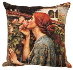 jacquard woven belgian gobelin tapestry cushion pillow cover My Sweet Rose by John William Waterhouse