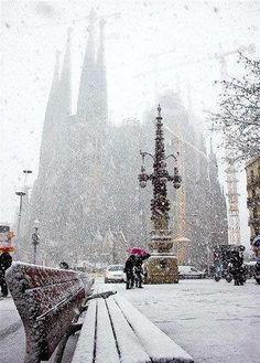 Barcelona in Snow