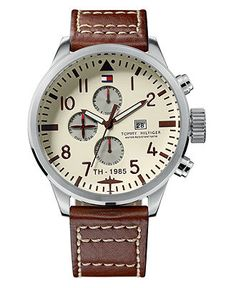 Tommy Hilfiger Watch, Men's Brown Leather Strap 1790684 - Men's Watches - Jewelry & Watches - Macy's