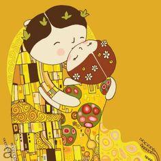 It's like my intrest in Japanese Pop Art and love for Gustav Klimt made a folk art baby! The Kiss, Gustav Klimt, Klimt Art, Japanese Pop Art, The Embrace, Bd Comics, Illustrations, Whimsical Art, Cute Illustration