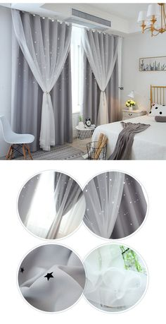 Korean Ready Made Curtain Hollow Star With Sheer Curtain Kids Room Curtain (One Panel) Kids Room Curtains, Living Room Decor Curtains, Home Curtains, Curtain Ideas For Living Room, Ceiling Curtains, Modern Curtains, Living Room Modern, Home Living Room, Home Room Design