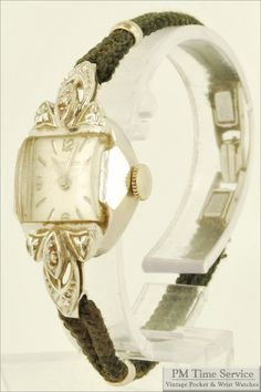 Wittnauer 17J vintage ladies wrist watch in a beautiful 14k white gold and diamond case, $175, on Etsy.