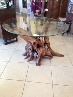 Beautiful cedar stump with root system table by PiddlesandDoodles, $799.99 #treestumptableroots
