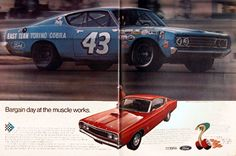 1969 Ford Torino Cobra original vintage ad. With standard 428 CID 4-barrel 335 hp engine, 4 on the floor, competition suspension, and hood lock pins. Pictured is Richard Petty's Cobra, winner of the Riverside 500. Cobra - the bargain bomb. Bargain day at the muscle works!