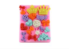 Crowns, Hearts, Ribbons & Bows Silicone Mold Available on http://www.itacakes.com #bowssiliconemold #ribbonssiliconemold #heartssiliconemold #crownssiliconemold