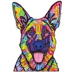 This Dogs Never Lie German Shepherd graphic was created by artist Dean Russo and made into a wall decal cut out sticker by My Wonderful Walls. Available in multiple sizes. Colorful animal pop art wall sticker decal.
